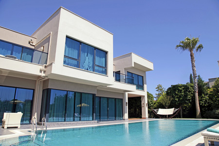outside outdoor outdoors exterior: Swimming pool at the modern luxury villa, Turkey Editorial
