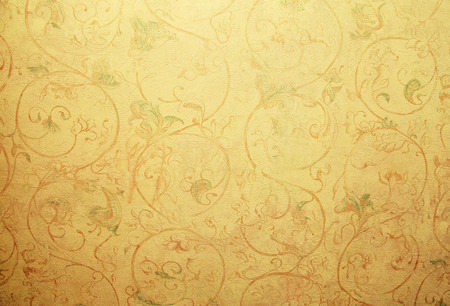 Yellow vintage shabby chic wallpaper with pastel vignette floral victorian pattern Stock Photo - 41791859