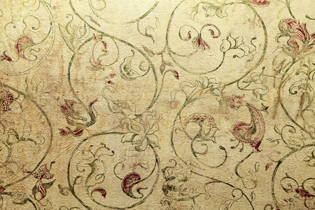 Vintage shabby chic wallpaper with vignette floral victorian pattern, toned image Stock fotó
