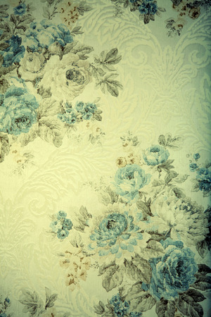 Vintage wallpaper with blue floral victorian pattern, toned image