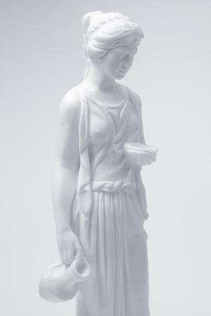 classical greek: marble female classical greek figurine, black and white image