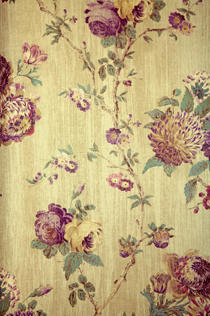 victorian wallpaper: Vintage beige wallpaper with purple victorian floral pattern