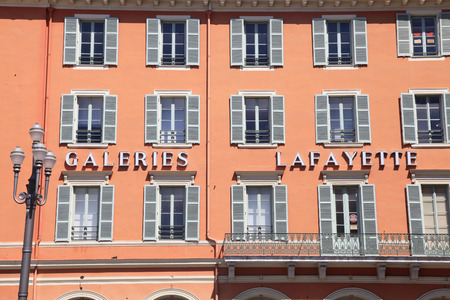 lafayette: NICE, FRANCE - MAY 17, 2013: Detail of Gallery Lafayette on the Place Massena, Nice, France. Galeries Lafayette on Place Massena is famous luxury fashion department store in Nice.