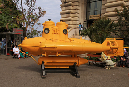 oceanographic: MONTE CARLO, MONACO - MAY 15, 2013: Yellow submarine - watercraft of explorer Jacques Cousteau at Oceanographic Museum in Monte Carlo, Monaco. Selective focus