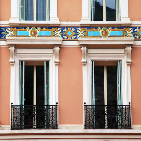 monte carlo: old french shutter windows and balcony, Monaco, Monte Carlo. Square image
