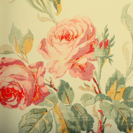 victorian wallpaper: Detail of vintage wallpaper with rose floral victorian pattern, vintage toned square image