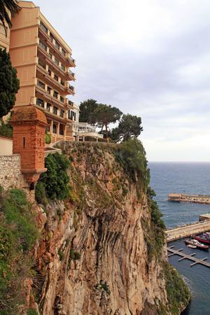 montecarlo: Vertical view with building on sea rocks, Monaco, Cote dAzur, French Riviera