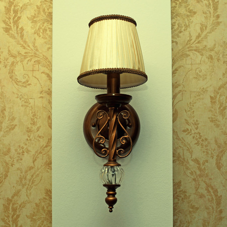 sconce: Classic sconce on the wall, square toned image,  effect