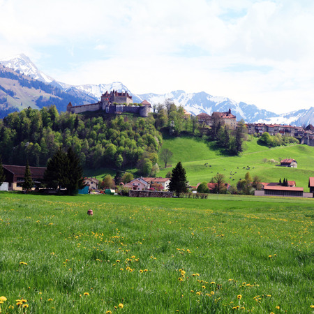 gruyere: Beautiful landscape with Gruyere Castle, fields and Alps Mountains in the background, Switzerland. Square toned image,  effect