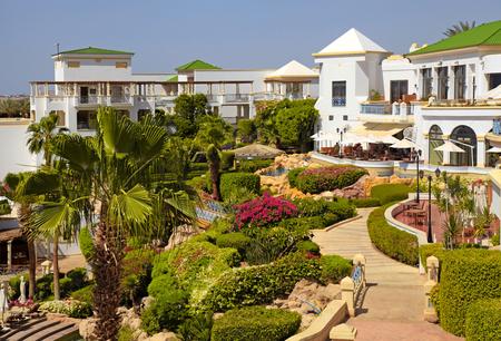 sharm el sheikh: SHARM EL SHEIKH, EGYPT - MAY 03, 2014: Tropical luxury resort hotel on Red Sea beach in Sharm el Sheikh, Egypt.