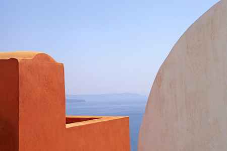 architectural details: white and red beautiful architectural details of Santorini island, Greece Stock Photo