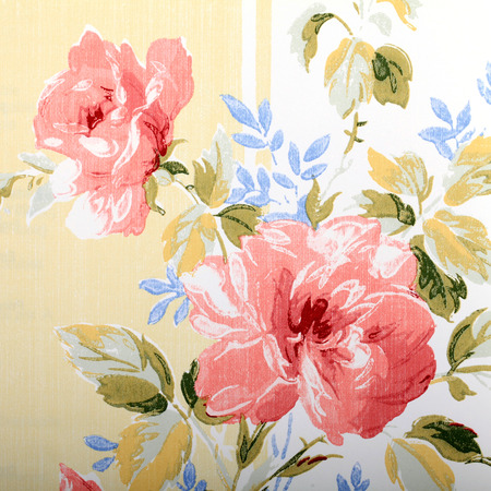 victorian wallpaper: Detail of vintage wallpaper with rose floral victorian pattern, square image