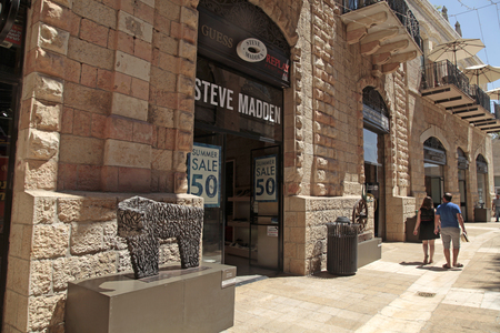 steve: JERUSALEM, ISRAEL - AUGUST 26, 2015: Steve Madden boutique at modern Mamilla shopping mall  in Jerusalem, Israel. Its a popular open air shopping mall with hotels, cafes, boutiques and fashion stores. Editorial