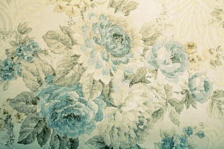 ブルーの花柄のビクトリア朝パターン、引き締まったイメージとビンテージ壁紙 写真素材