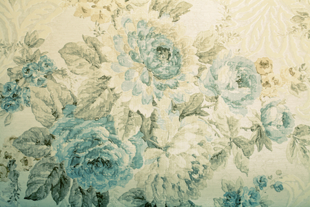 baroque wallpaper: Vintage wallpaper with blue floral victorian pattern, toned image