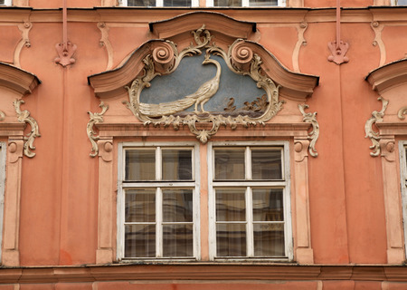 pediment: Classical colorful baroque window with pediment in Prague, Czech Republic Stock Photo