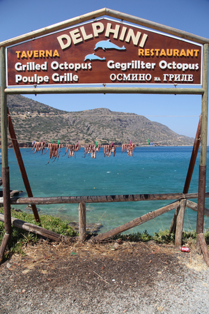 gastronome: CRETE, GREECE - JULY 14, 2012: Greek tavern with octopus hanging to dry on the sea beach, Crete, Greece.