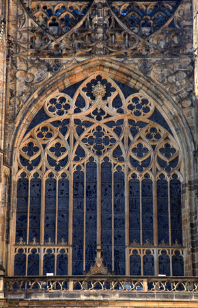 gothic window: Gothic window of St.Vitus cathedral in Prague, Czech Republic.