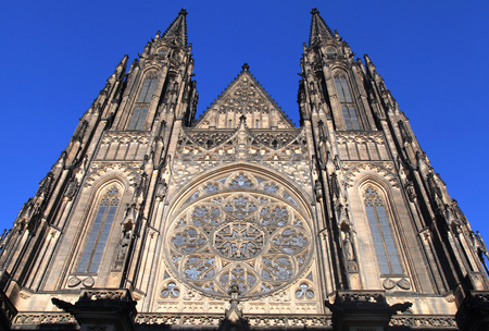 gothic window: Front view of the main entrance to the St. Vitus Cathedral in Prague Castle in Prague, Czech Republic.