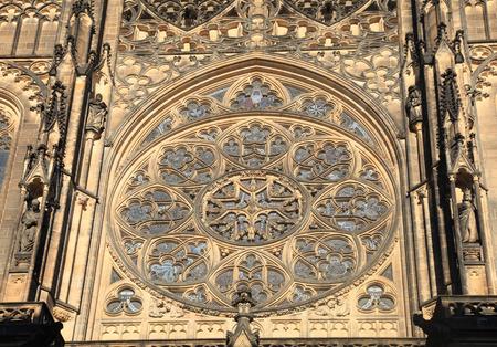 rose window: Ornamental Rose window in historical St Vitus Cathedral, Prague Castle, Czech republic Editoriali