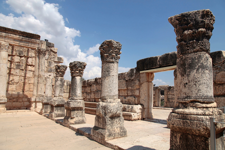Ruins of ancient White synagogue in which Jesus Christ preached in biblical Capernaum, Israel.