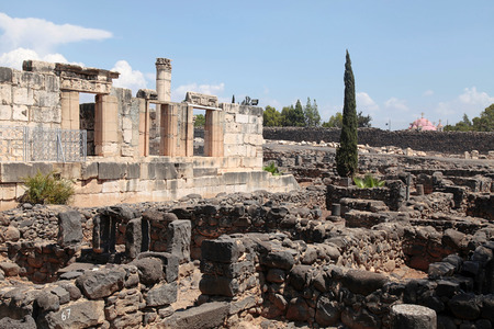 preached: Ruins of ancient White synagogue in which Jesus Christ preached in biblical Capernaum, Israel.