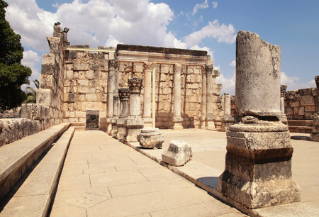 ancient israel: Ruins of ancient White synagogue in which Jesus Christ preached in biblical Capernaum, Israel.