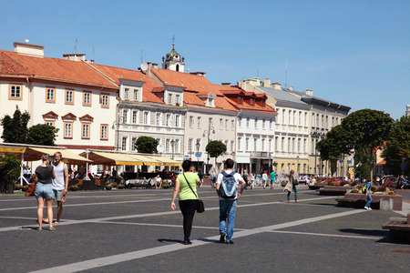 town hall square: VILNIUS, LITHUANIA - JULY 19, 2015: The Town Hall Square in Vilnius, Lithuania. Vilnius is known for its Old Town of beautiful architecture,   Editorial