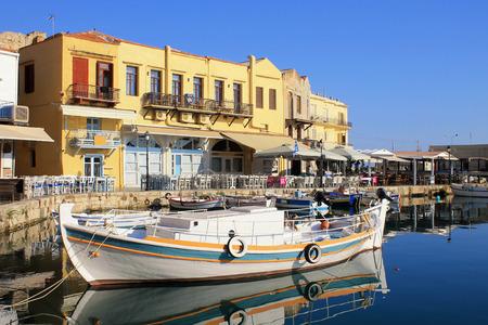 rethymno: Boat in the old venetian port, Rethymno, Crete island,Greece.