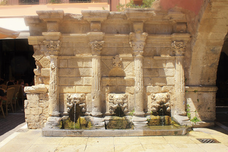 rethymno: Old venetian Rimondi Fountain in Rethymno, Crete, Greece