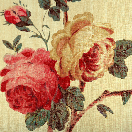 victorian wallpaper: Detail of vintage wallpaper with red rose floral victorian pattern, square toned image