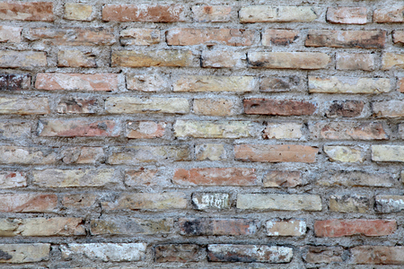 stone wall texture: Background of old vintage dirty brick wall with peeling plaster texture
