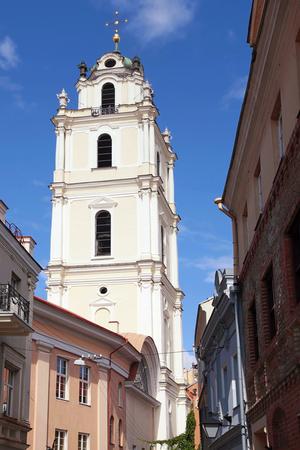 vilnius: Old Town streets and St Johns Church in Vilnius University, Vilnius, Lithuania.