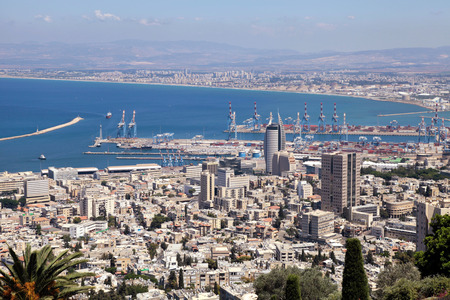 sea port: Beautiful panoramic view from Mount Carmel to cityscape and port in Haifa, Israel.