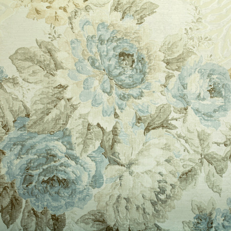 victorian wallpaper: Vintage wallpaper with blue floral victorian pattern, square toned image Stock Photo