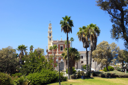 jafo: Church and park in the Old Town of Jaffa, Tel Aviv, Israel