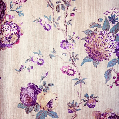 victorian wallpaper: Vintage shabby chic beige wallpaper with violet floral victorian pattern, square toned image Stock Photo