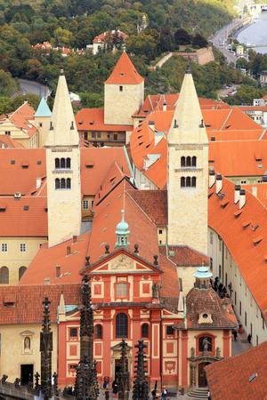 unesco in czech republic: Aerial view St.Georges Basilica in Prague Castle (Pražský hrad), UNESCO world heritage site, Prague, Czech republic Editorial