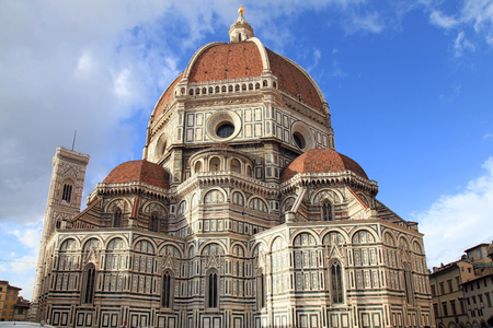 firenze: Amazing Cathedral of Santa Maria del Fiore (Il Duomo di Firenze), Florence, Italy. The basilica is one of Italys largest churches Editorial
