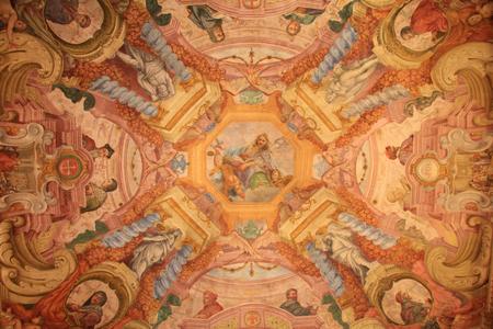 italian fresco: Medieval ceiling fresco in the Uffizi Gallery, Florence, Italy