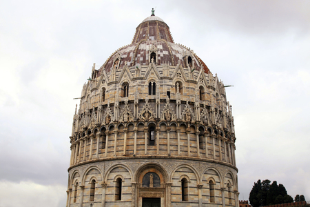 miracoli: Baptistry of St John, part of the Pisa Cathedral Complex on famous Piazza dei Miracoli, Pisa, Italy Stock Photo