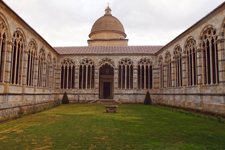 camposanto: Inner courtyard of the Monumental cemetery Camposanto, Piazza dei Miracoli, Pisa, Italy Editorial