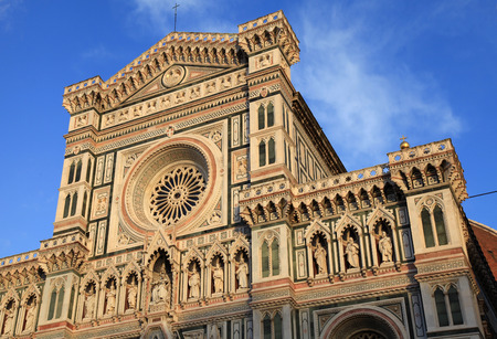 saint mary: Ornate facade of Cathedral of Santa Maria del Fiore (Il Duomo di Firenze), Florence, Italy. The basilica is one of Italys largest churches, UNESCO World Heritage Site Stock Photo