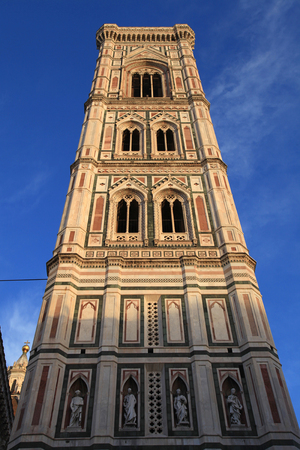 the mary: Santa Maria del Fiore church with Giotto tower, Florence, Italy. Sunny day, blue sky background
