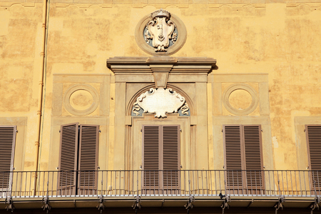 Balcony of medieval Medici Riccardi Palace, Florence, Italy Editorial