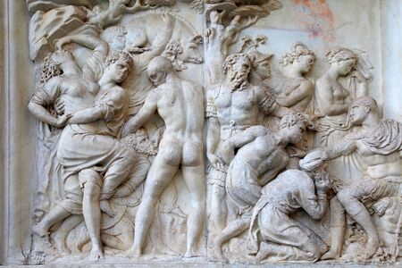 florence   italy: Antique marble roman relief , Florence, Italy