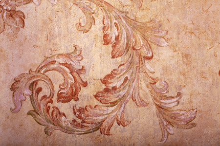 craquelure: Detail of vintage beige shabby chic wallpaper with vignette pattern and craquelure