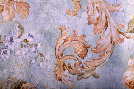 victorian wallpaper: Detail of vintage shabby chic wallpaper with floral victorian pattern and craquelure Stock Photo