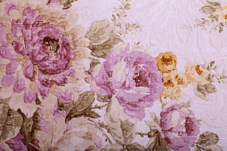 victorian wallpaper: Vintage wallpaper with purple and yellow floral victorian pattern Stock Photo