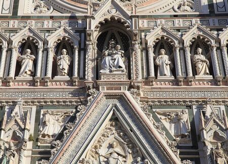 fiore: Detail from main facade of Cathedral of Santa Maria del Fiore in Florence,Italy. Close-up view.